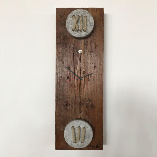 rectangular wall clock in wood, concrete and rope numbers