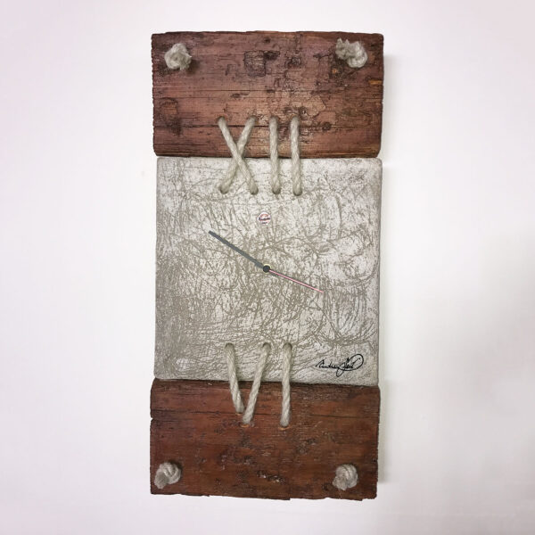 wall clock made with cement and wood